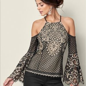 Lace Bell Sleeve Top by Venus